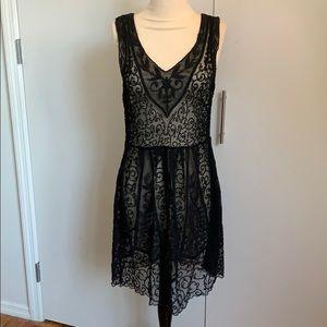 Vintage flapper style black lace sheath dress